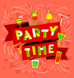 Party time lettering nightclub invitation vector