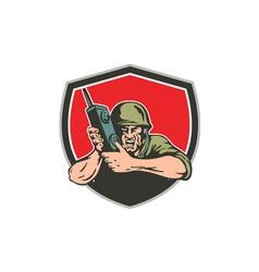 World War Two American Soldier Field Radio Shield vector image vector image