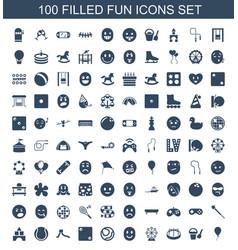 100 fun icons vector