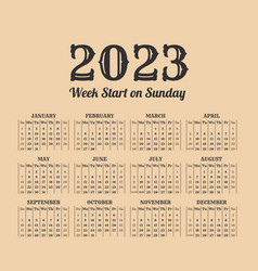 2023 year vintage calendar weeks start on sunday vector
