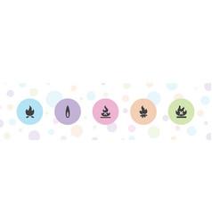 5 bonfire icons vector