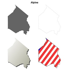 Alpine County California outline map set vector