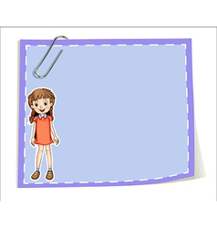 An empty paper template with a young girl smiling vector image