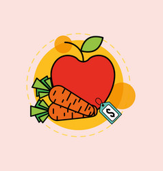 Apple carrots fruit and vegetable supermarket vector