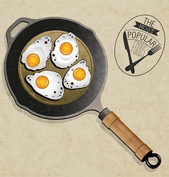 artistic pan with eggs vector image