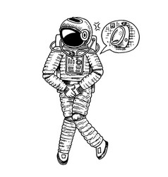 Astronaut spaceman with wc restroom symbol vector