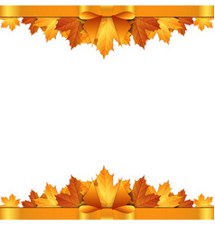 Autumn leaves decorated with gold bow vector