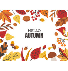 autumn leaves frame decorative borders with fall vector image