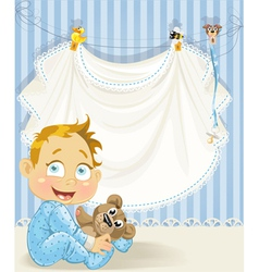 Baby boy blue openwork announcement card with baby vector