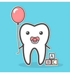 Babytooth with soother and balloon vector