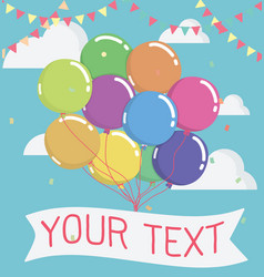 balloon with message on banner vector image vector image