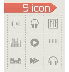 black sound icons set vector image