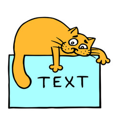 Blue sheet with text and orange cat on top vector
