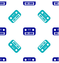 Blue toy piano icon isolated seamless pattern vector