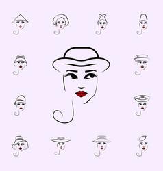 bonnet hat girl icon hat girl icons universal set vector image