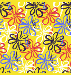 bright yellow pattern with contrast simple flowers vector image