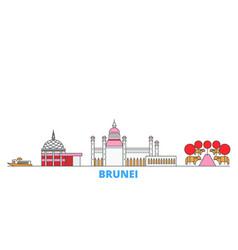 Brunei line cityscape flat travel city vector