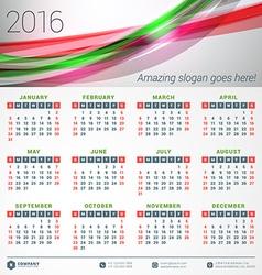 Calendar 2016 design template week starts sunday vector