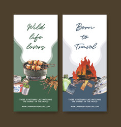 Camping flyer design with canned food grill stove vector