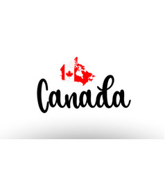 Canada country big text with flag inside map vector