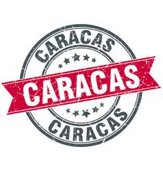Caracas red round grunge vintage ribbon stamp vector