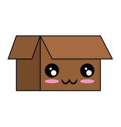 carton box kawaii character vector image
