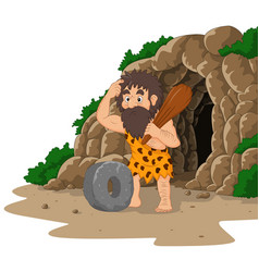 Cartoon caveman inventing stone wheel with cave ba vector