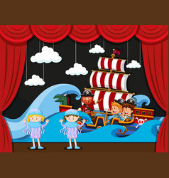 Children acting on stage vector