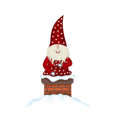 christmas card santa claus in fireplace vector image