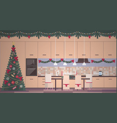 christmas kitchen interior in a flat style vector image