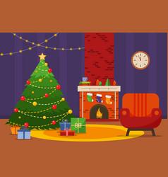 christmas room interior christmas tree armchair vector image