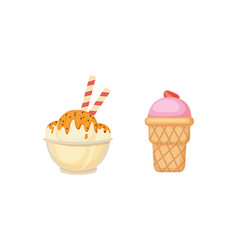 Collection of cartoon ice cream vector