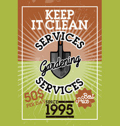 Color vintage gardening services banner vector