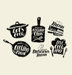 Cooking cuisine label set cookery kitchen vector