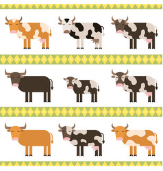 Cows bulls and calf flat vector