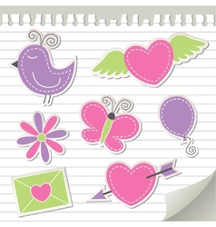 cute pink stickers set vector image vector image