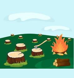 Deforestation for logging vector