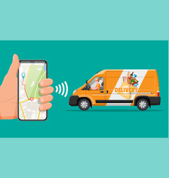 delivery van full food and smartphone vector image