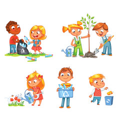Ecological kids design funny cartoon character vector