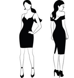 Elegant woman in little black dress vector