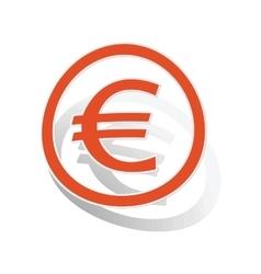 Euro sign sticker orange vector