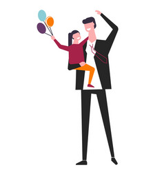 father holds daughter with balloons bunch in hand vector image