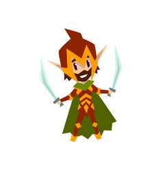 forest elf warrior in green clothes with swords vector image