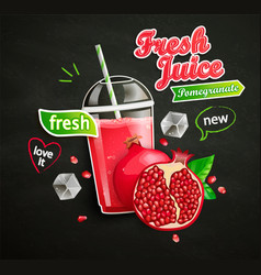 Fresh pomegranate juice with ice and fruit vector