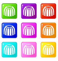 Fruit jelly icons 9 set vector