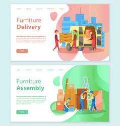 Furniture delivery and assembly store service set vector