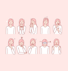 Girls emotions or facial expressions set vector