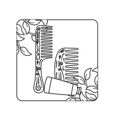 Hair combs wooden with tube bottle in frame vector