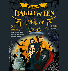Halloween poster for holiday party flyer vector