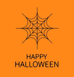 Happy halloween card spider round web black vector